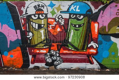 BaStreet Art Graffiti. Paintings On The Wall.