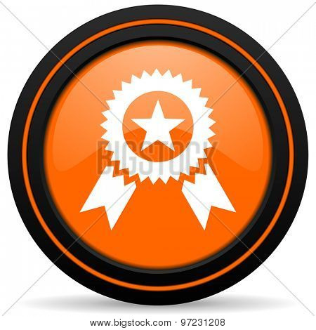 award orange icon prize sign