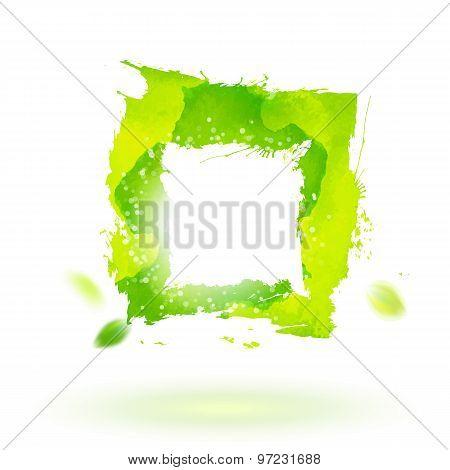 Watercolor Drawing Green Square Symbol