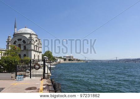 Bosphorus and Dolmabahce Mosque. Istanbul. Turkey.