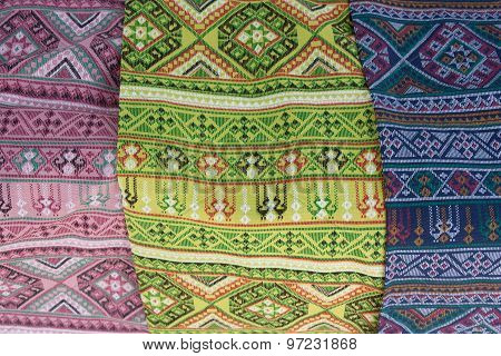 Patterned Sarongs Sold In The Market.