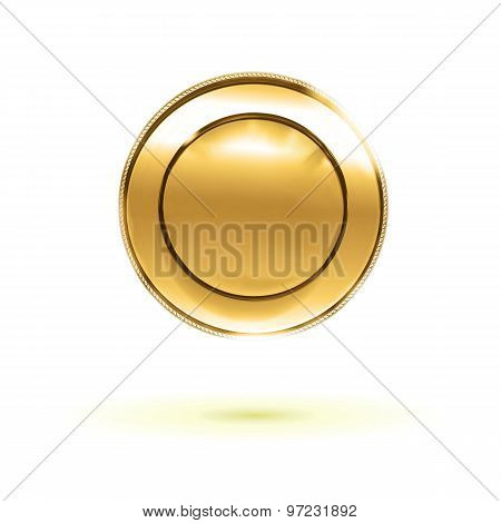 Abstract Gold Luxury Plate At White Background