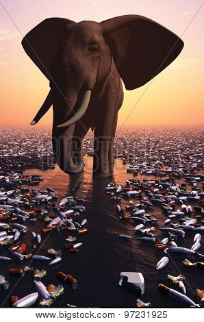 The elephant stands amongst debris.