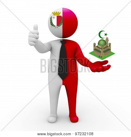 3d businessman people Malta - Muslim mosque and Islam in Malta