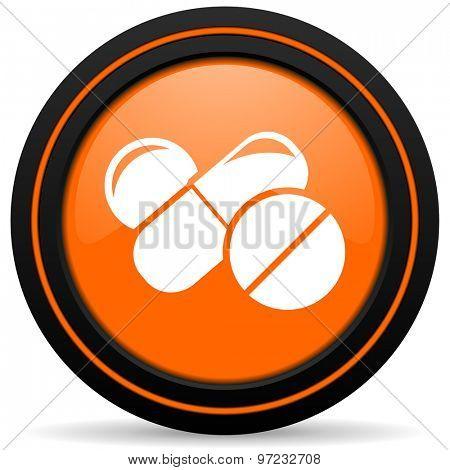 medicine orange icon drugs symbol pills sign