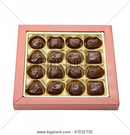 variety of chocolates in box on white