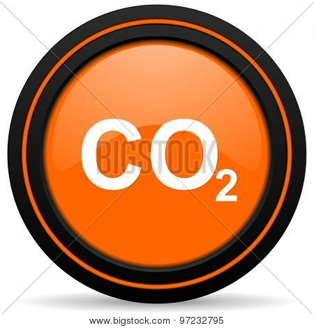 carbon dioxide orange icon co2 sign
