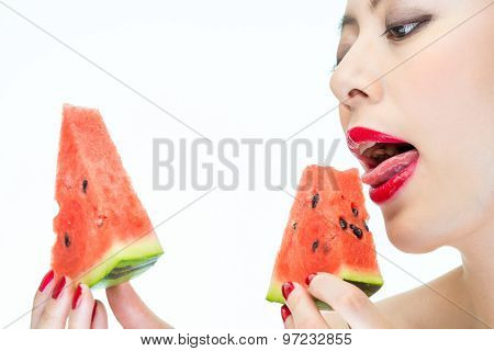 Sexy Woman Enjoy Eating Watermelon With Red Lips, Greedy, Licking