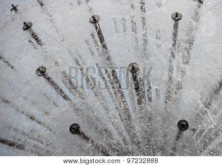 Water Splash From Circular Steel Tube Fountain