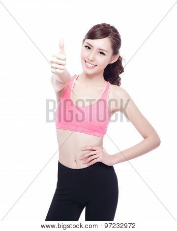 Sport Girl Show Thumb Up