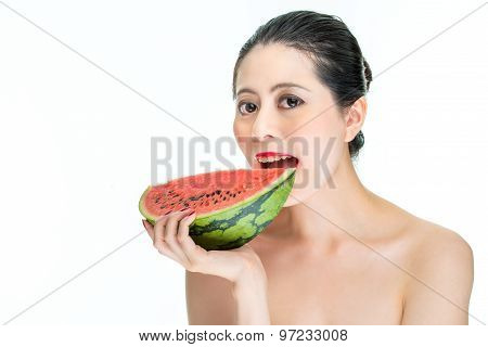 Fashion Woman Enjoy Eating Watermelon With Red Lips, Yummy, Bite