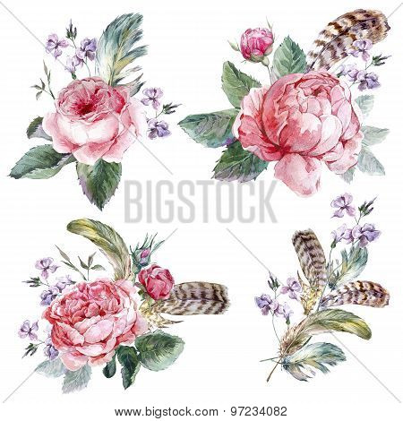 Set vintage watercolor bouquet of roses feathers and wildflowers