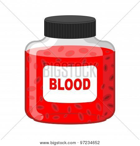 Blood Bank. Bottle Of Red Liquid-lymph. Vector Illustration. Gift Vampire