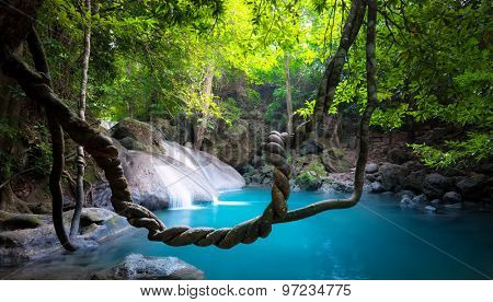Waterfall in jungle forest nature background