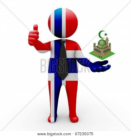3d businessman people Norway - Muslim mosque and Islam in Norway