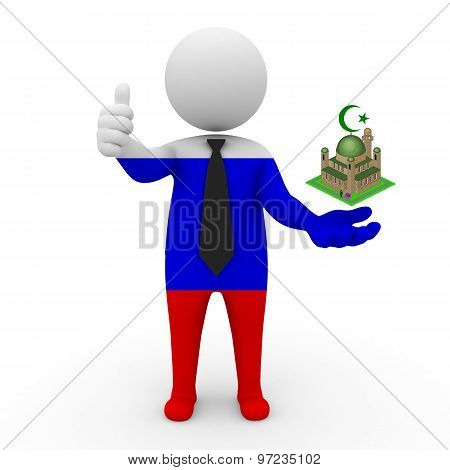 3d businessman people Russia - Muslim mosque and Islam in Russia