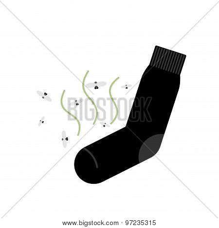 Dirty Smelly Sock With A Bad Smell And Flies. Vector Illustration