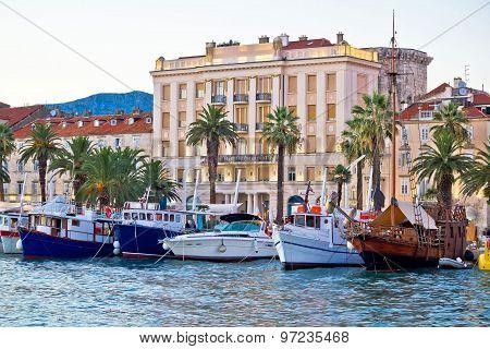 Boats In Split Waterfront View