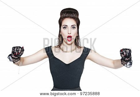 Surprised Woman In Retro Pin Up Style Holding Something On Her Hands