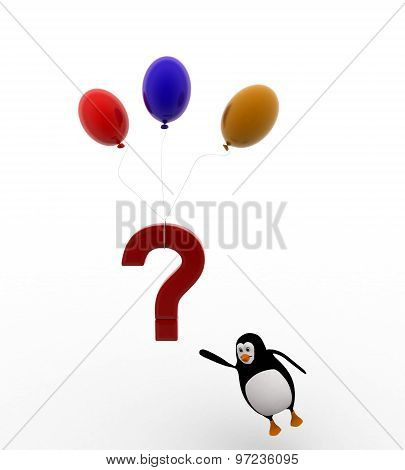 3D Penguin With Flying Question Mark With Balloons Concept