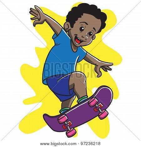 Afro Boy Skateboarding