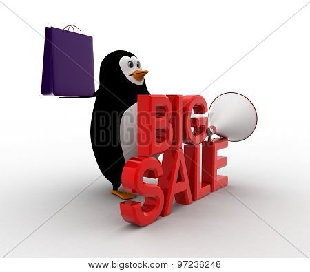 3D Penguin Big Sale Text And Shopping Bag And Speaker Concept