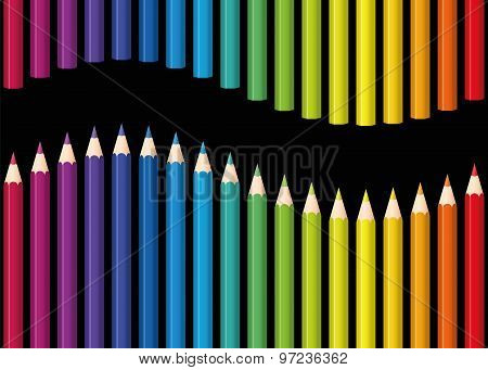 Rainbow Colored Pencils Seamless Wave Black