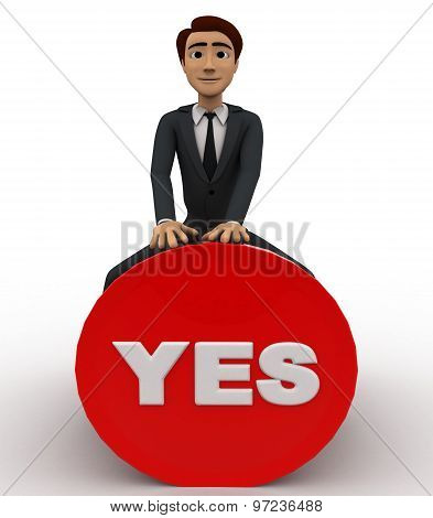 3D Man Sitting On Yes Button Concept