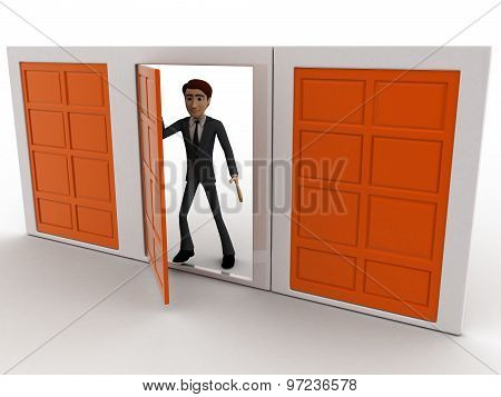 3D Man Choose Middle One Door From Three Different Doors Concept