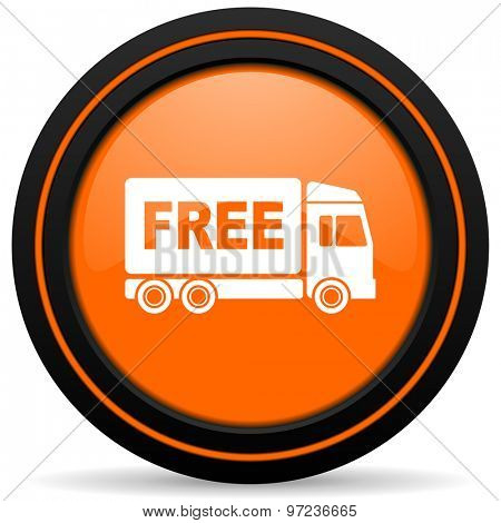 free delivery orange icon transport sign
