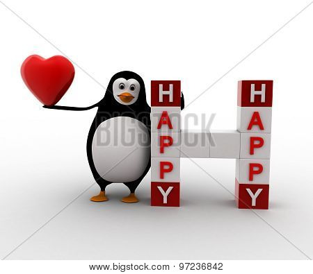 3D Penguin With Heart And Happy Happy Cubes Concept