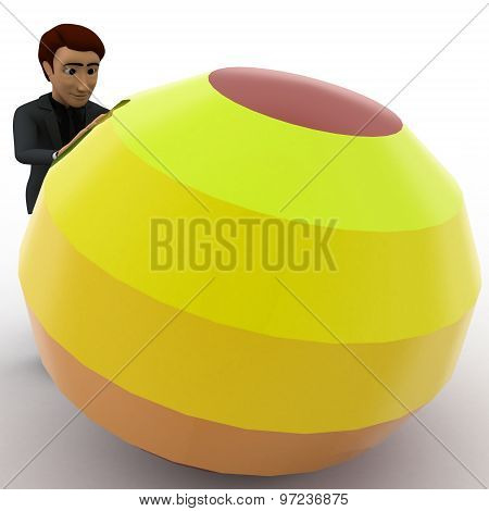3D Man Pushing Colorful Ball Concept