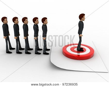 3D Men In Queue And Standing On Target Board One By One Concept