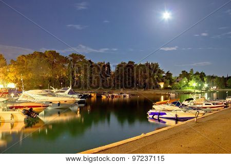 Malinska Harbor Evening Moonlight View