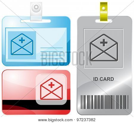 mail plus. Vector id cards.
