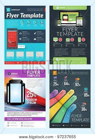 Set Of Abstract Vector Business Flyer Brochure Design Templates