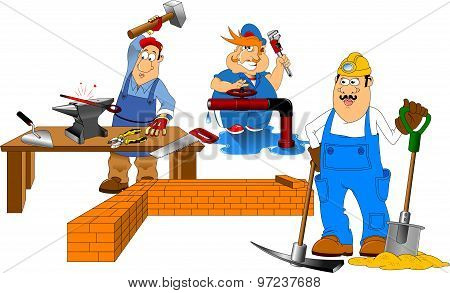 Three Cheerful Builder