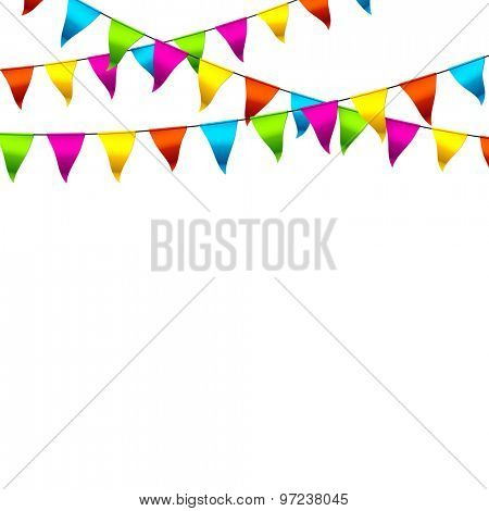 Colorful bunting flags with space for text. Vector.