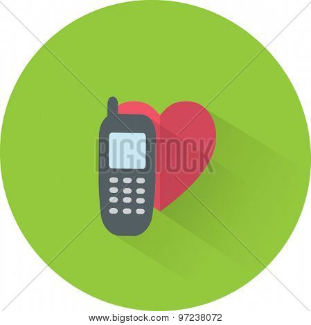 Vector phone icon with heart. Flat illustration.