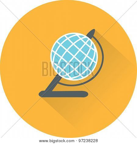 Globe illustration. Vector flat icon.