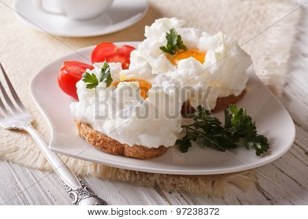Toasts Baked With Whipped Egg Whites And Yolk Close-up