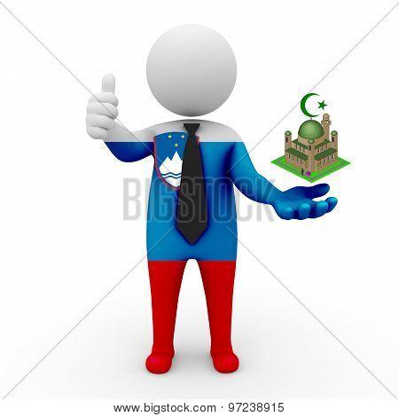 3d businessman people Slovenia - Muslim mosque and Islam in Slovenia