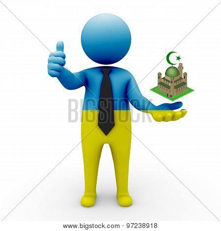 3d businessman people Ukraine - Muslim mosque and Islam in Ukraine