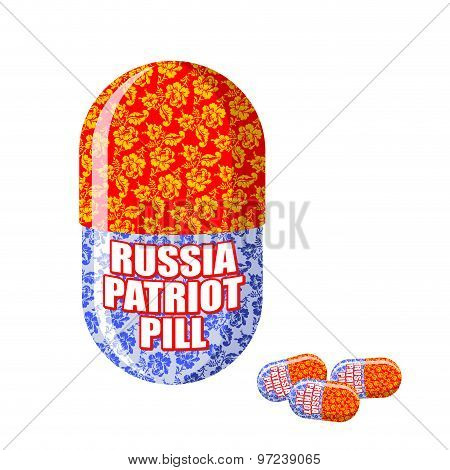 Russian Patriotic Pill. Capsule With National Traditional Ornament. Vector Illustration