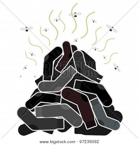 Mount Old Dirty Socks, With Flies. Vector Illustration