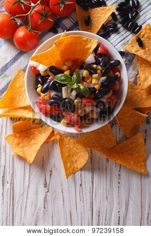 Mexican Salsa And Corn Chips Nachos. Vertical Top View