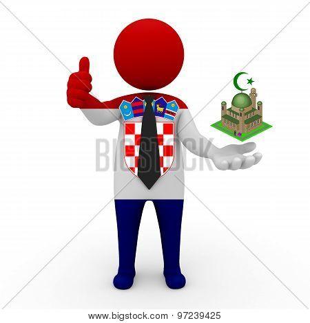 3d businessman people Croatia - Muslim mosque and Islam in Croatia