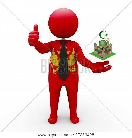 3d businessman people Montenegro - Muslim mosque and Islam in Montenegro