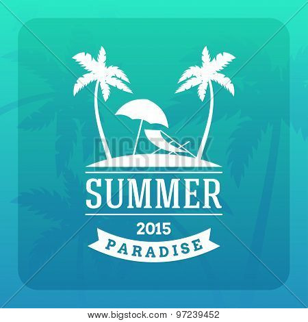 Summer Holidays Hipster Vintage Label Or Badge. Vector Design Element