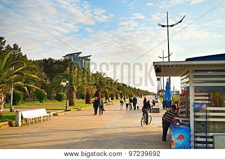 Batumi Quayside At Sunset, Georgia